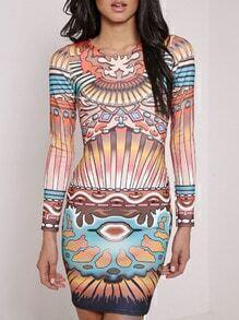 Multicolor Round Neck Print Bodycon Dress