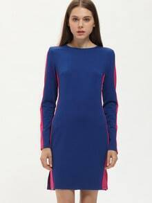 Blue Pink Long Sleeve Cut Out Color Block Dress