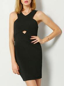 Black Sleeveless Cut Out Sheath Dress