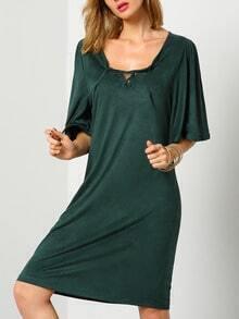 Dark Green Half Sleeve Lace Up Dress