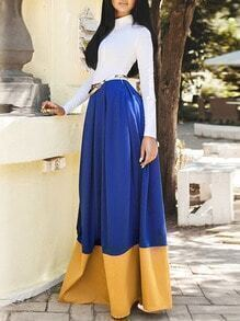 White Blue High Neck Color Block Maxi Dress