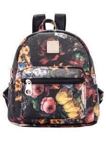 Black Random Floral Zipper Backpack