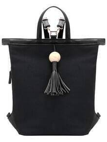 Black Fringe Contrast PU Canvas Backpack