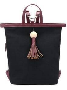 Burgundy Fringe Contrast PU Canvas Backpack