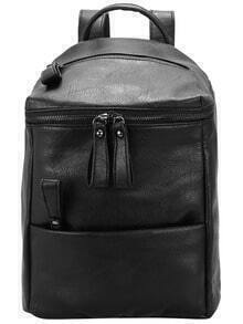 Black Zipper PU Backpack