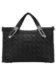 Black Zipper Plait Metallic Embellished PU Bag