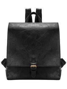 Black Belt Buckle PU Backpack
