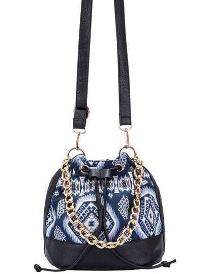 Blue Drawstring Contrast PU Random Geometric Print Chain Bucket Bag pictures