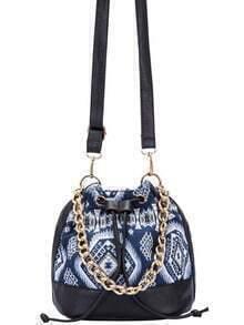 Blue Drawstring Contrast PU Geometric Print Chain Bucket Bag