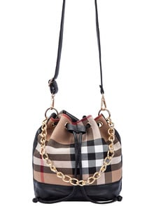 Khaki Drawstring Contrast PU Plaid Chain Bucket Bag
