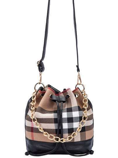 Khaki Drawstring Contrast PU Random Plaid Chain Bucket Bag
