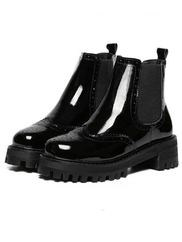 Black Chunky Heel Hollow Patent Leather Boots