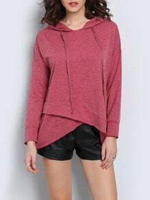 Red Hooded Cross Front Sweatshirt
