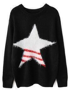 Black Round Neck Star Patterned Loose Sweater
