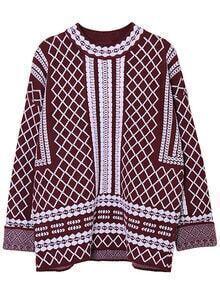 Burgundy White Round Neck Diamond Patterned Sweater