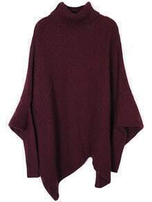 Burgundy High Neck Asymmetrical Loose Sweater