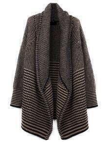 Black Apricot Long Sleeve Striped Sweater Coat