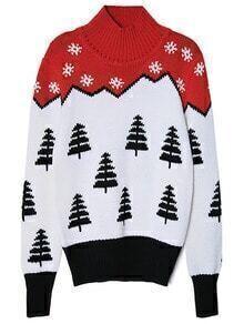 Colour Mock Neck Snowflake Christmas Tree Sweater