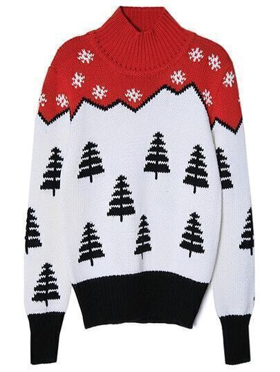 Colour Mock Neck Snowflake Christmas Tree Sweater