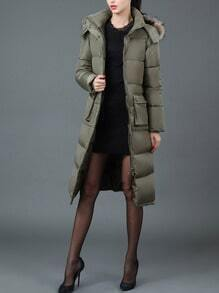 Army Green Hooded Pockets Long Down Coat