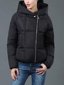 Black Hooded Long Sleeve Zipper Down Coat
