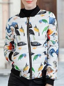 Colour Stand Collar Bird Print Down Coat