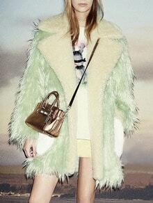 Green Long Sleeve Pockets Faux Fur Coat