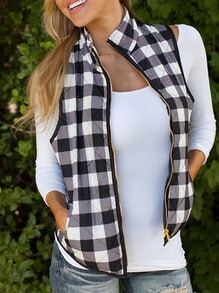 Black White Stand Collar Plaid Vest