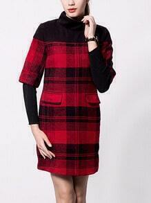 Red Black High Neck Plaid Woolen Dress