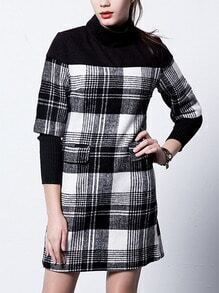 Black White High Neck Plaid Woolen Dress