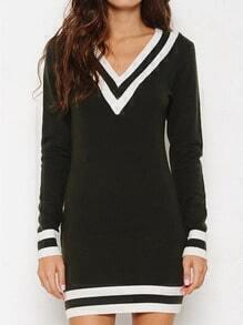 Black White V Neck Striped Bodycon Dress