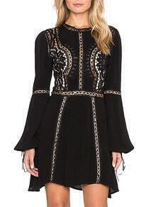 Black Bell Sleeve Hollow Slim Dress