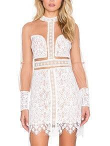 White Sheer Mesh Lace Bodycon Dress