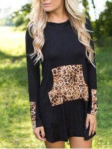 Black Hooded Long Sleeve Leopard Slim Dress