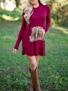 Burgundy Hooded Long Sleeve Leopard Slim Dress