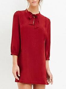 Red Bow Collar Slim Dress