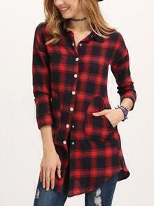 Red Black Long Sleeve Plaid Pockets Blouse