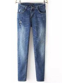 Blue Bleached Patch Denim Pant