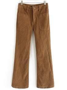 Khaki Pockets Corduroy Bell Pant