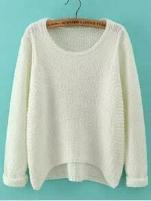 White Round Neck Dip Hem Loose Sweater