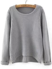 Grey Round Neck Dip Hem Loose Sweater