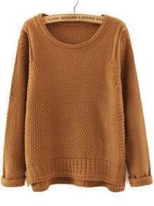 Khaki Round Neck Dip Hem Loose Sweater