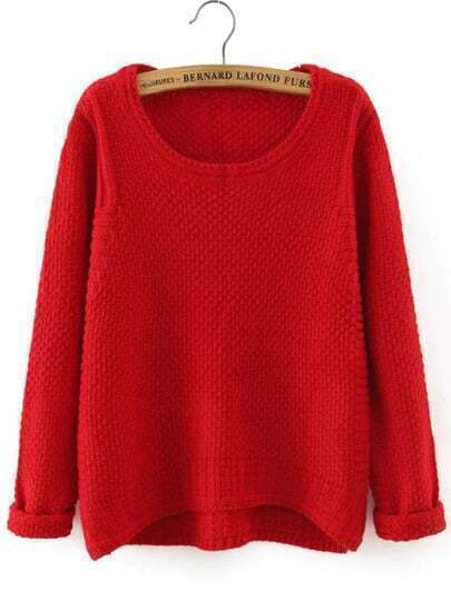 Red Round Neck Dip Hem Loose Sweater