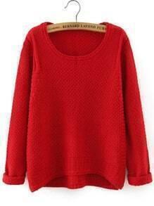 Red Round Neck Dip Hem Loose Sweater