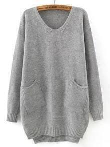 Grey V Neck Pockets Loose Sweater