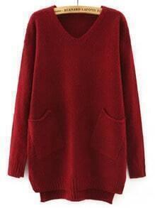 Burgundy V Neck Pockets Loose Sweater