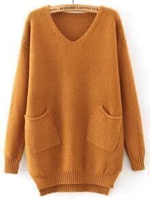 Khaki V Neck Pockets Loose Sweater