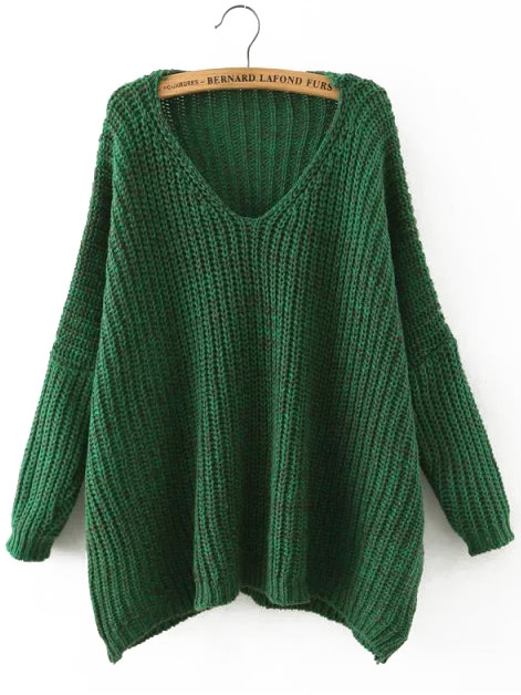 Green V Neck Batwing Sleeve Loose Sweater цена и фото