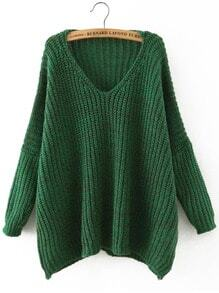 Green V Neck Batwing Sleeve Loose Sweater