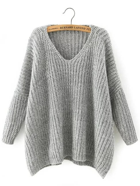 Фото V Neckline Dropped Shoulder Sweater. Купить с доставкой